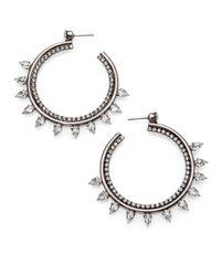 DANNIJO | Metallic Caroline Crystal Hoop Earrings/2.25 | Lyst