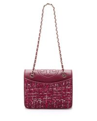 Tory Burch - Marion Tweed Medium Fleming Bag - Red Agate - Lyst