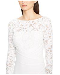 Lauren by Ralph Lauren - White Faux-Wrap Sequined-Lace Gown - Lyst