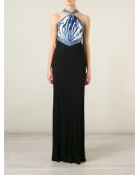 Emilio Pucci - Black Printed Top Evening Dress - Lyst