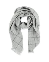 Forever 21 | Gray Frayed Plaid Pattern Scarf | Lyst