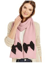 kate spade new york | Pink Diagonal Rib Muffler With Bow | Lyst
