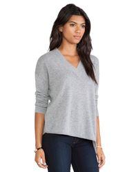White + Warren - Gray Wide Trim V Neck Sweater - Lyst