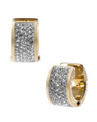 Michael Kors Metallic Gold Tone And Crystal Huggie Earrings