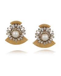 Elizabeth Cole Metallic Gold-plated Swarovksi Crystal Earrings