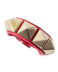 Valentino - Pink Medium Rockstud Leather Bracelet - Lyst