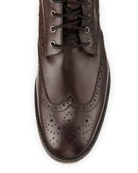 Andrew Marc - Black Hillcrest Leather Wing-tip Boot for Men - Lyst