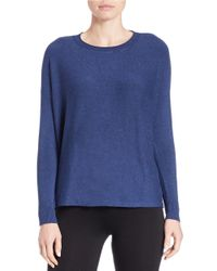 Eileen Fisher Blue Petite Dropped-shoulder Crewneck Sweater