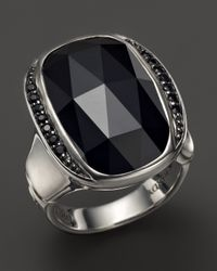 John Hardy Batu Bamboo Silver Large Octagon Ring With Black Chalcedony And Black Sapphire