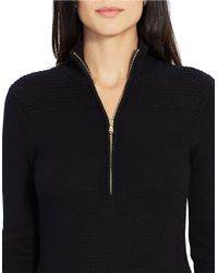 Lauren by Ralph Lauren | Black Petite Cotton Mockneck Sweater Dress | Lyst