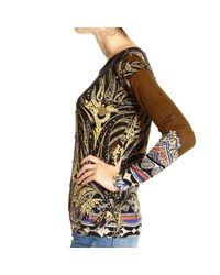 Etro | Black Shearling Trimmed Tweed Wrap Coat | Lyst