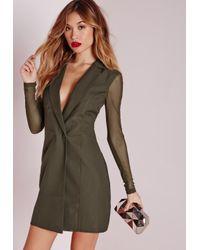Missguided Natural Mesh Back Blazer Dress Khaki