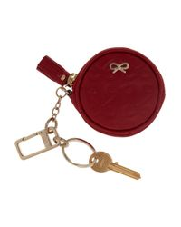 Anya Hindmarch Red Maeve Round Leather Key Fob