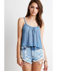 Forever 21 | Blue Embroidered-chiffon Cropped Cami | Lyst