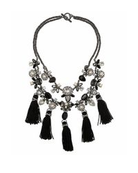 Marchesa | Black Faux Pearl Jeweled Tassel Necklace | Lyst