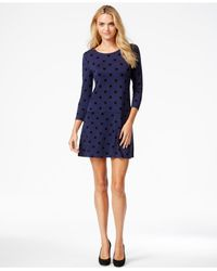 Kensie - Blue Polka-dot Printed Dress, A Macy's Exclusive Style - Lyst