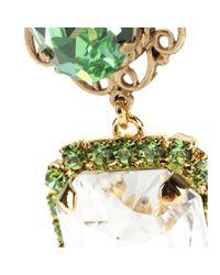 Dolce & Gabbana - Green Embellished Clip-On Earrings - Lyst