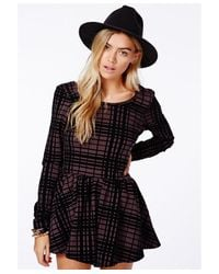 Missguided   Black Joaquina Loose Fit Romper In Flocked Check   Lyst