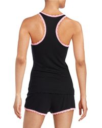 Betsey Johnson | Black Lace-trimmed Camisole And Shorts Set | Lyst