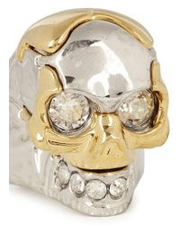 Alexander McQueen | Metallic Silver Plated Puzzle Skull Ring | Lyst