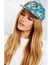 Obey Blue Baseball Cap in Floral Print