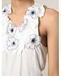 Vanessa Bruno White Floral Applique Shift Top