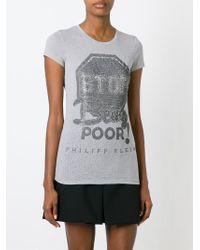 Philipp Plein - Gray 'stop Being Poor' T-shirt - Lyst