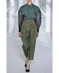 Delpozo Green Silk Triple Organza Blouse With Contrast Sleeves