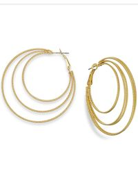 INC International Concepts | Metallic Gold-tone Triple Row Hoop Earrings | Lyst