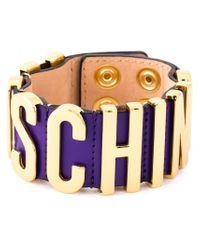 Moschino - Purple Logo Plaque Bracelet - Lyst