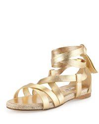 Miu Miu | Metallic Suede Ankle-Wrap Espadrille Sandals-Gold Size 8.5 | Lyst