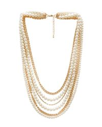 Forever 21 Metallic Layered Faux Pearl Necklace