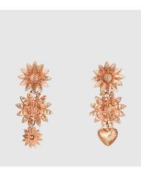 Gucci Metallic Flora Earrings In Pink Gold