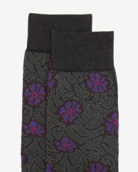 Ted Baker - Gray Floral Print Socks for Men - Lyst