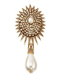 Oscar de la Renta | Metallic Pearly Star Brooch | Lyst