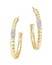 John Hardy | Metallic Gold Bedeg Pave Diamond Medium Hoop Earrings | Lyst