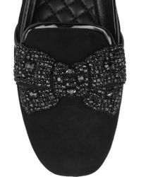 Tory Burch Black Carissa Embellished Suede Slippers
