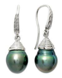 Macy's | Gray Pearl Earrings, Sterling Silver Cultured Tahitian Pearl Semi-baroque Drop Earrings (10mm) | Lyst