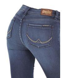 Superdry Blue Skinny Washed Cotton Denim Jeans for men