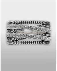 Lord & Taylor | Metallic Sterling Silver Ring With Diamond Accents | Lyst