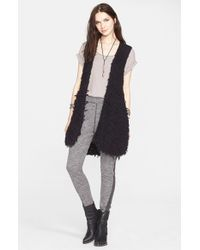 Free People | Black Faux Fur Open Vest | Lyst