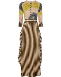 Vineet Bahl Brown Embroidered and Striped Organza Maxi Dress