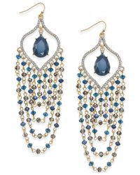 INC International Concepts - Metallic Gold-tone Teal Beaded Chandelier Earrings - Lyst