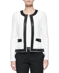 St. John - Black Boucle Trellis Knit Jacket With Leather - Lyst