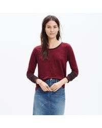 Madewell - Red Modern Linen Raglan Tee In Colorblock - Lyst