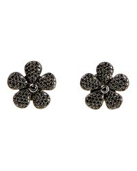 Colette | Black Flower Diamond Stud Earrings | Lyst