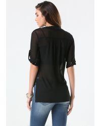 Bebe - Black Mesh Front Button Shirt - Lyst
