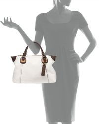 orYANY - White Maria Colorblock Leather Satchel Bag - Lyst