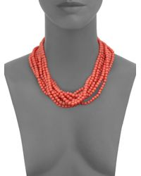 Kenneth Jay Lane Pink Multi-strand Beaded Necklace