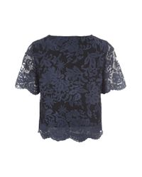 Jane Norman - Blue Scalloped Lace Co-ord Top - Lyst